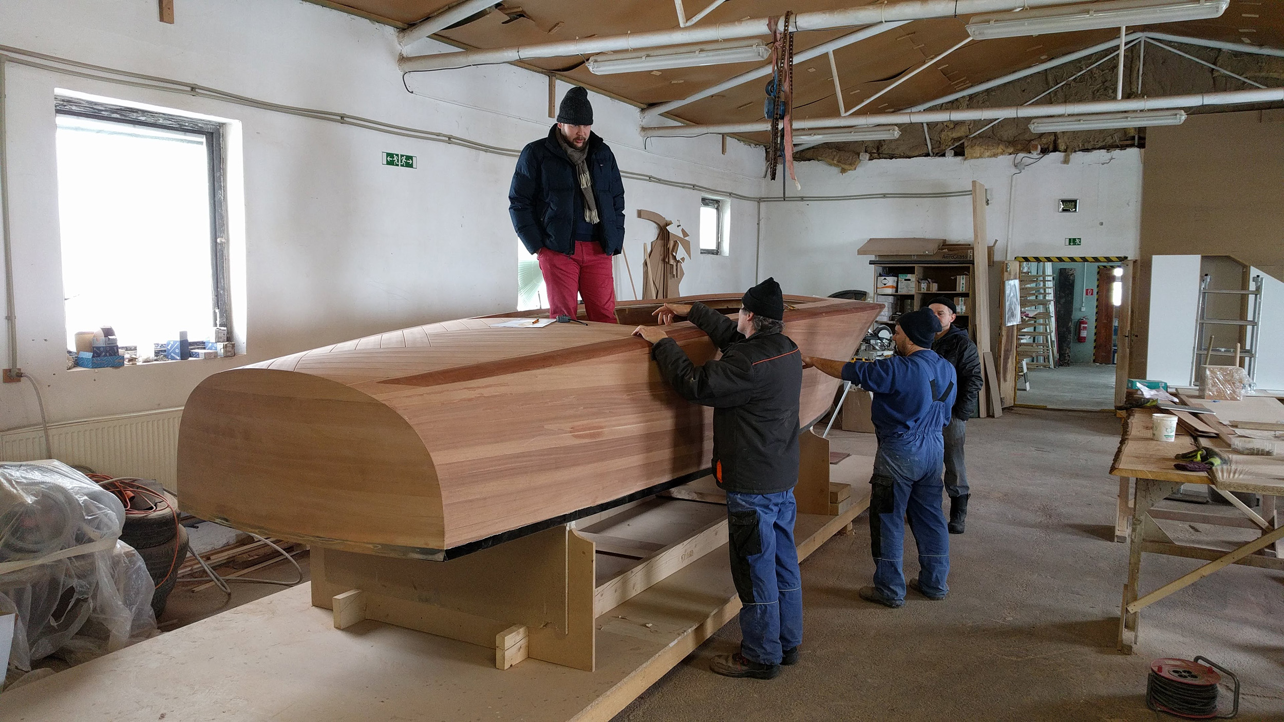 examining barrel-back structure in the workshop